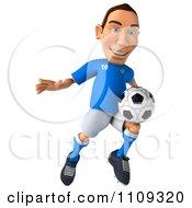 Clipart 3d White Italian Soccer Player 2 Royalty Free CGI Illustration