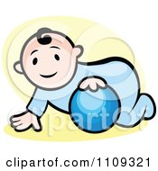 Clipart Happy Baby Playing With A Ball Over Yellow Royalty Free Vector Illustration by Vector Tradition SM