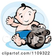 Clipart Happy Baby Playing With A Toy Bear Over Blue Royalty Free Vector Illustration by Vector Tradition SM