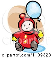 Clipart Happy Baby Playing With A Balloon Over Tan Royalty Free Vector Illustration