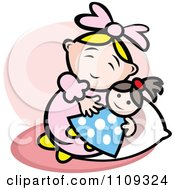 Clipart Happy Baby Playing With A Doll Over Pink Royalty Free Vector Illustration by Vector Tradition SM