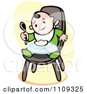 Happy Baby Eating In A High Chair Over Yellow