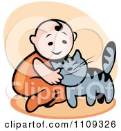 Clipart Happy Baby Petting A Cat Over Beige Royalty Free Vector Illustration