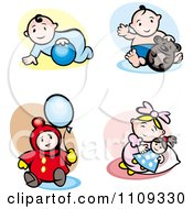 Clipart Happy Babies Playing With Toys Royalty Free Vector Illustration by Vector Tradition SM