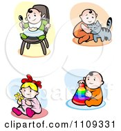 Clipart Happy Babies Eating And Playing Royalty Free Vector Illustration