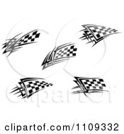 Clipart Black And White Tribal Checkered Racing Flags Royalty Free Vector Illustration