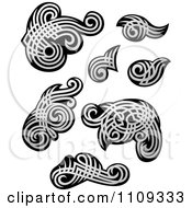 Clipart Silver And Black Tribal Designs Royalty Free Vector Illustration