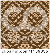 Clipart Seamless Brown Floral Swirl Background Pattern Royalty Free Vector Illustration