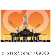 Clipart Silhouetted Oil Derrick Platform Against A Sunset Royalty Free Vector Illustration by Vector Tradition SM