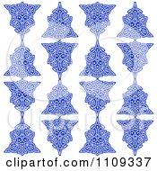 Seamless Blue Celtic Knot Pattern Background On White