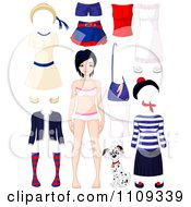 Clipart Teenage Girl In Underwear With Apparel And A Dalmatian Puppy Royalty Free Vector Illustration by Pushkin