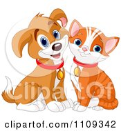 Clipart Cute Happy Orange Kitty And Beagle Puppy Royalty Free Vector Illustration by Pushkin