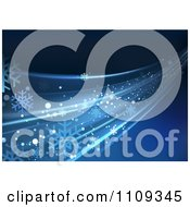 Clipart Blue Background With Flowing Rays Or Waves Royalty Free Vector Illustration