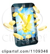 Clipart 3d Cell Phone With Gold Coins And A Yen Symbol Bursting From The Screen Royalty Free Vector Illustration by AtStockIllustration