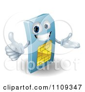 Clipart 3d Blue SIM Card Mascot Holding A Thumb Up Royalty Free Vector Illustration