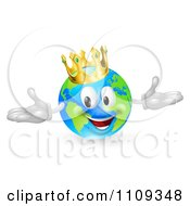 Clipart 3d Happy King Of The World Globe Wearing A Crown Royalty Free Vector Illustration