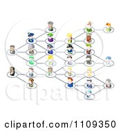 Clipart Network Of 3d Occupational People Royalty Free Vector Illustration by AtStockIllustration