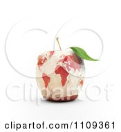 3d Carved Apple With A World Map