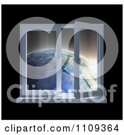 Clipart 3d Paneled Window Open With A View Of Earth At Sunrise Royalty Free CGI Illustration by Mopic