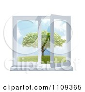 Clipart 3d Paneled Window Open With A View Of A Tree In A Meadow Royalty Free CGI Illustration