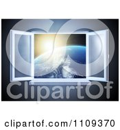 Clipart 3d Paneled Window Open With A View Of The Sun Rising Over The Earth Royalty Free CGI Illustration by Mopic
