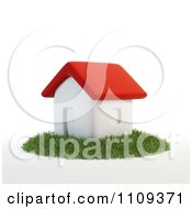 Clipart 3d White House With A Red Roof On A Patch Of Grass Royalty Free CGI Illustration
