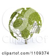 3d Leafy World Map On A Tree