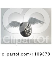 Clipart 3d Winged Tire Flying Royalty Free CGI Illustration