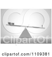 Clipart 3d Tiny People Standing On A Teeter Totter With One Man Weighing More Than A Group Royalty Free CGI Illustration