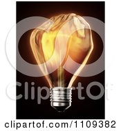 Clipart 3d Glowing Fist Shaped Light Bulb Royalty Free CGI Illustration