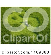 Clipart 3d Man Mowing His Lawn In A Shape Of A Dollar Symbol Royalty Free CGI Illustration