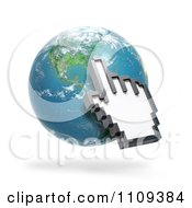 3d Hand Shaped Computer Cursor Pointing To North America On A Globe
