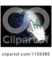 Clipart 3d Hand Shaped Computer Cursor Pointing A Globe Royalty Free CGI Illustration