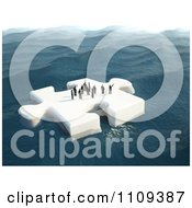 3d Tiny People Floating On A Puzzle Piece Ice Floe