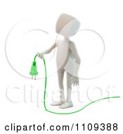 Clipart 3d White Person Holding A Green Electric Cable Royalty Free CGI Illustration