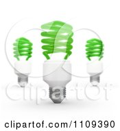 Clipart 3d Green Fluorescent Spiral Light Bulbs Royalty Free CGI Illustration