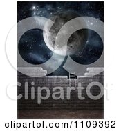 3d Ladder Leaning Against A Brick Wall With A Moon And Starry Sky Above