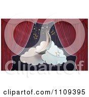 Clipart 3d Red Theater Curtains Revealing A Moon Stars And Clouds Stage Set Royalty Free CGI Illustration by Mopic