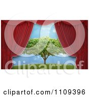 Clipart 3d Red Theater Curtains Revealing A Tree Stage Set Royalty Free CGI Illustration by Mopic
