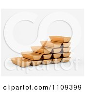 Clipart 3d Gold Bullion Bars Forming Steps Royalty Free CGI Illustration