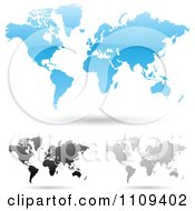 Clipart Blue Black And Gray World Maps With Shadows Royalty Free Vector Illustration