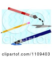 Clipart Fountain Pen Pencil And Paint Brush Over Blue Waves Royalty Free Vector Illustration by bpearth