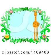 Giraffe And Floral Vine Frame With Blue Copyspace