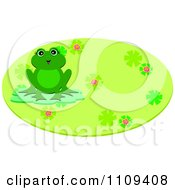 Happy Frog On A Lilypad Over A Green Floral Oval