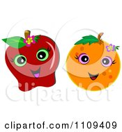 Happy Red Apple And Orange With Flowers