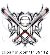 Clipart Tribal Baseball Home Plate With Crossed Bats And Ball Featuring The Sweet Spot Royalty Free Vector Illustration by Chromaco