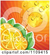 Clipart Background Of Juicy Orange Slices Over Rays And Leaves Royalty Free Vector Illustration by merlinul
