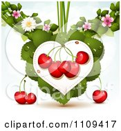 Clipart Bing Cherries On A Leaf Heart With Blossoms Over Blue With Flares Royalty Free Vector Illustration by merlinul