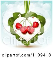 Clipart Bing Cherries On A Leaf Heart Over Blue With Flares Royalty Free Vector Illustration by merlinul