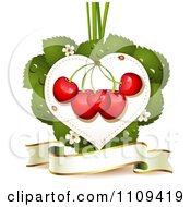 Clipart Bing Cherries On A Blossom Leaf Heart Over A Banner Royalty Free Vector Illustration by merlinul